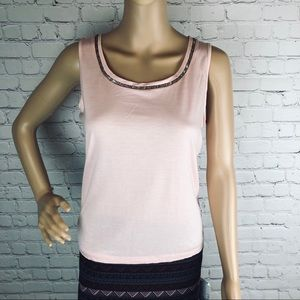 Talbots Petites embellished sleeveless top pink SP